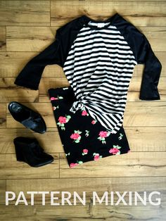 Pattern mixing with striped black and white LuLaRoe Randy baseball tee and floral skirt #lularoe