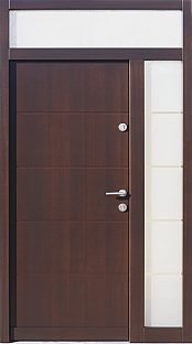 Drzwi zewnętrzne z dostawką boczną i naświetlem górnym wzór 490,9 w kolorze dąb bagienny Front Doors, Tall Cabinet Storage, Metal, House, Furniture, Home Decor, Entry Doors, Decoration Home, Entrance Doors