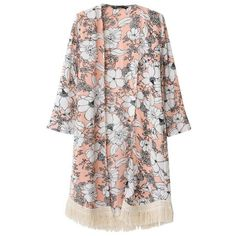 Hot Women Outerwear Floral Print Tassel Long Sleeve Loose Casual... ($6.68) ❤ liked on Polyvore featuring tops, cardigans, floral print kimono, kimono cardigan, floral kimono, kimono top and long sleeve open front cardigan