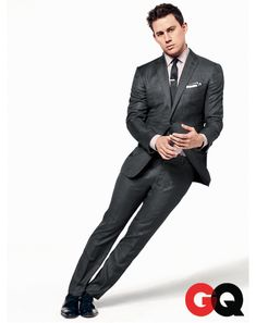 Charcoal business suit. Minimum sheen. Channing Tatum.