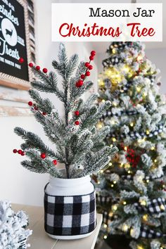 How to make a mason jar christmas tree. Keep on budget with your Christmas decor by making some of it inexpensively. Adding a base to a cheap Christmas tree gives it some weight and a little more height making it fee more highend. #ChristmasDecor #Christmastree #budget #flocked