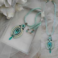Soutache mint color necklace Soutache pendant Ivory Mint Blue necklace Evening…