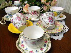 6 Mismatched Cups and Saucers Lot - Tea Party or Vintage Wedding Favor Orphans - Bulk Mixed Maker Teacups  8685