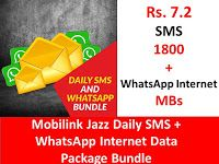 Mobilink Jazz Daily Sms Whatsapp Internet Data Package Bundle Sms Jazz Internet Packages
