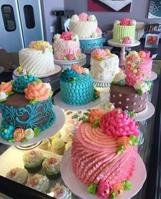 So many beauties going out into the case today! We sell ready to go… So many beauties going out into the case today! We sell ready to go cakes on a walk in basis, stop in and we can personalize… Pretty Cakes, Cute Cakes, Fancy Cakes, Mini Cakes, Beautiful Cakes, Amazing Cakes, Deco Cupcake, Cupcake Cakes, Wilton Cakes