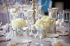 Mercury Glass and White Hydrangeas