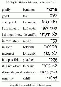 English to Hebrew: Answers Vocabulary: gladly, good, very good, I am all ears, I did not know, immediately, in short, incorrect, it is possible, it is not clear, it sounds good, negative