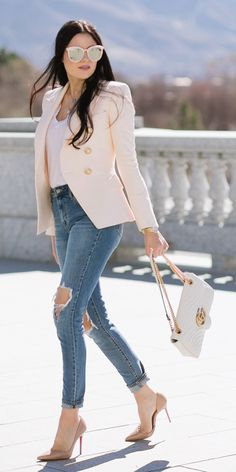 Blush pink blazer with gold buttons