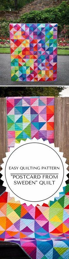 Easy Postcard From Sweden Quilt Pattern for Beginners. Gorgeous HST quilt with solids! Beginner Quilt Patterns, Quilting For Beginners, Quilt Patterns Free, Quilting Tutorials, Quilting Projects, Quilting Designs, Sewing Projects, Sewing Patterns, Sewing Ideas