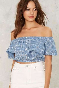77308bfba Plaid Girls Club Off-Shoulder Top Pantalones Ajustados