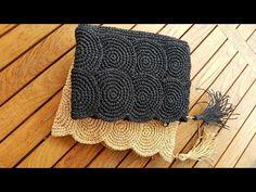 Crochet Butterfly Free Pattern, Tapestry Crochet Patterns, Macrame Patterns, Crochet Motif, Crochet Designs, Knit Crochet, Crochet Clutch, Crochet Purses, Crochet Bag Tutorials