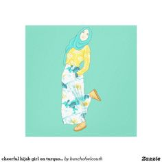cheerful hijab girl on turquoise canvas print