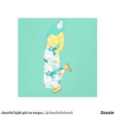 cheerful hijab girl on turquoise canvas print