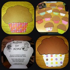 """Mother's Day """"muffins for moms"""" Invitations that I made for our students, since we are having their moms come for breakfast at school to celebrate the special day...They turned out much more cute than I had imagined!"""