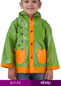 Puddle Play Little Boys' Dinosaurs Waterproof Outwear Hooded Rain Coat - Toddler - - Boys' Clothing, Jackets & Coats, Rain Wear # # Green Raincoat, Hooded Raincoat, Hoodie Jacket, Rain Jacket, Cute Raincoats, Clothing Consignment Shops, Boys Winter Jackets, Altering Clothes, Ralph Lauren Boys