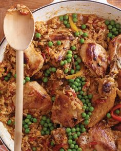 Chicken and Brown Rice | Martha Stewart Living - This hearty one-pot meal is perfect for weekend dinners when you have time to let the dish cook.