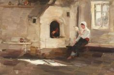 Nicolae Grigorescu, Fireplace in Rucăr Classic Paintings, Great Paintings, Sculpture Painting, Painting & Drawing, Art History Major, Portraits, Old Art, Modern Art, Sculptures