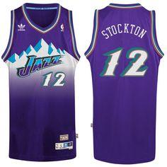 adidas John Stockton Utah Jazz Purple Hardwood Classic Swingman Jersey