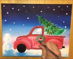 Christmas tree truck - How To Paint A Christmas Tree Truck – Christmas tree truck Types Of Christmas Trees, Burlap Christmas Tree, Christmas Wood Crafts, Christmas Tree Painting, Christmas Canvas, Christmas Truck, Christmas Drawing, Christmas Tree Themes, Christmas Art