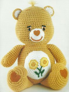 The Vintage Toy Chest: Free Crochet Patterns. Love this Care Bear!!!! it's friend bear!!!!! I still own my limited edition glow-in-the-dark friend bear!!!!!