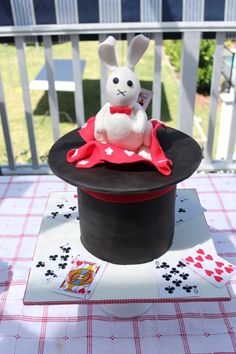 Lots of decoration and styling ideas for a kid's magic party. The theme was black white and red with a wonderful Magician's hat cake and playing card cookies by Sugary Goodness.