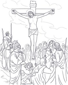Coloring Page For The Twelfth Station Of Cross Jesus Is Raised