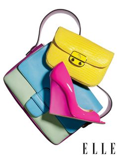 Vivid colors patent  leather  bag & high heels