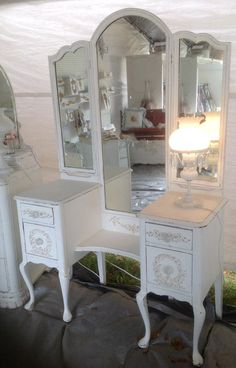 Hey, I found this really awesome Etsy listing at https://www.etsy.com/listing/228150601/shabby-chic-tri-mirror-vanity-painted $475