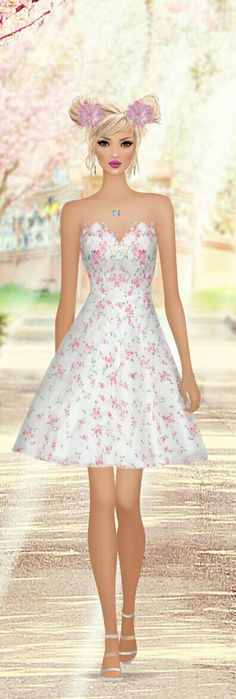 Cherry Red Fantasy Life, Covet Fashion Games, Cover Model, Ely, Cherry Red, Fashion Sketches, Beautiful Dolls, Cute Pictures, Strapless Dress