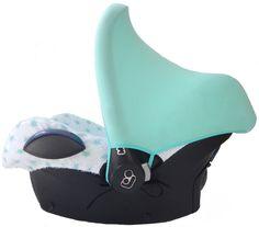 Dutch & English website! Maxi Cosi hoes Badstof Mint Ster car seat cover bezug babyschale minz green lightgreen star stars sterren mintgroen zomerhoes zonnenkap zonnekap kapje zonkapje sun hood sonnendach