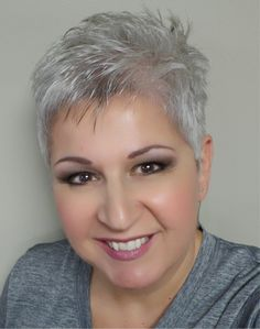 Short Silver Pixie Cut