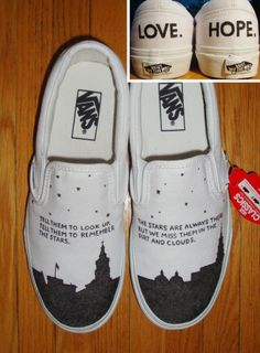 "Custom vans with design inspired by ""To write love on her arms"" TWLOHA"