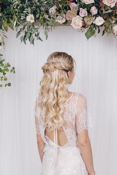Simple botanical inspired crystal or pearl hairvine - Rosie - Debbie Carlisle