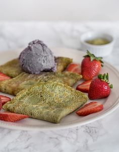 Matcha Crepes with Strawberries and Black Sesame Ice Cream - Obsessive Cooking Disorder Crepe Ingredients, Baking Ingredients, Black Sesame Ice Cream, Crepe Recipes, Non Stick Pan, Matcha Green Tea, Almond Flour, Crepes, Food Photo
