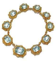 GOLD AND AQUAMARINE NECKLACE,  CIRCA 1830.  Set with 10 cushion-shaped aquamarines weighing approximately 239.00 carats, within gold frames of shell and scroll designs, length 16 inches.