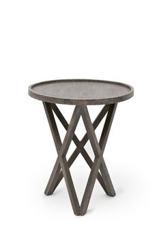 <ul> 	<li> 		Salvage mango wood side table</li> 	<li> 		Pylon legs</li> 	<li> 		Circular table top with lipped edge</li> </ul>