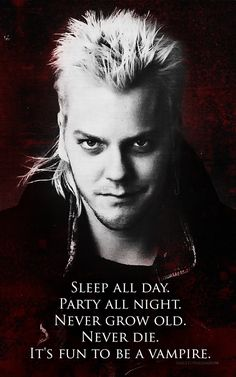 Kiefer Sutherland as Davind on the movie of The Lost Boys, directed by Joel Schumacher.