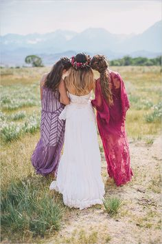 boho chic bridesmaids in berry tones