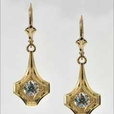 18K Yellow Gold Earrings with .99CTTW Old Euro Diamonds by Tom Mathis