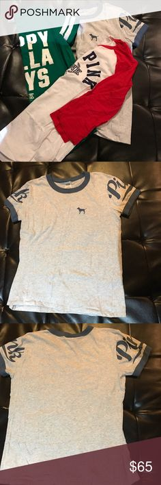 Bundle of 3 Victoria Secret PINK Tshirts The green and gray shirt have no stains only been used once. The white shirt has a small stain as shown in the last picture it is not easily seen PINK Victoria's Secret Tops Tees - Short Sleeve