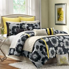 This beautiful collection features a black, white and yellow color palette that blends together perfectly in the oversized floral pattern woven into polyester jacquard. The bright yellow provides a beautiful pop, while the floral mixture adds dimension. Yellow And Gray Bedding, Grey Bedding, Luxury Bedding, Kohls Bedding, Bed Comforter Sets, Queen Comforter Sets, Bedroom Comforters, Bedspreads, Palette