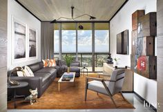 Contemporary White Media Room with City View | LuxeSource | Luxe Magazine - The Luxury Home Redefined