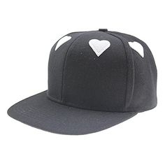 Hipcap Womens Fashion Canvas Peach Heart 6 Panel Flat Brim Hat Peaked Cap Black >>> Check this awesome product by going to the link at the image.