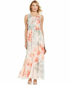 Vince Camuto Sleeveless Floral-Print Blouson Maxi Dress - Dresses - Women - Macy's