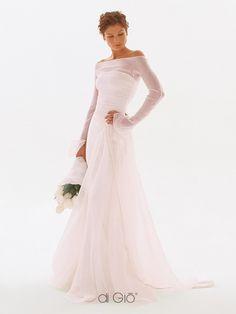 Simple Elegant Sheath Sweep Train Wedding Dress for Older Brides ...