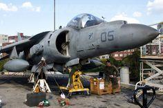 AV-8B+ Harrier II undergoing some maintenance onboard USS Bonhomme Richard during a visit to Sydney.