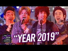 In this 'Year parody, it's 2006 and The Jonas Brothers are working out their new song, Year in which they meet a British man named James Corden . Jonas Brothers, Best Party Songs, Reggie Watts, The Late Late Show, New President, British Men, Guy Names, Live Tv, News Songs
