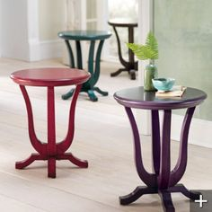 "love the shape and colors of these ""anywhere"" tables"