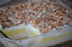 Oh my, lookie at this! Princess Pie - (Coconut Cream Pie Dessert) --- This pan dessert features a homemade crust, cream cheese layer, instant coconut pie layer, and finished off with whipped topping and toasted coconut (opt). Potluck Desserts, 13 Desserts, Layered Desserts, Delicious Desserts, Dessert Recipes, Yummy Food, Recipes Dinner, Fun Food, Coconut Pudding