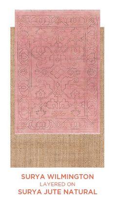Surya Wilmington and Surya Jute Natural Rug Direct, Floor Rugs, Indoor Design, Woven, Popular Decor, Layered Rugs, Rugs, Trending Decor, Jute